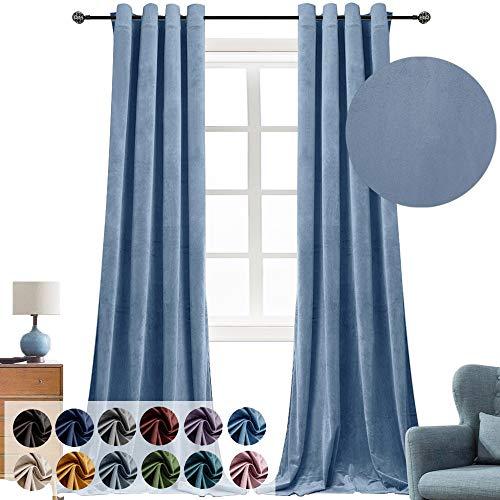 Super Soft Luxury Velvet Curtains for Living Room Light Blocking Velvet Curtain Panels Privacy Grommet Window Drapes for Bedroom/Sliding Glass Door, 2 Panels (Baby Blue, 52W96L)