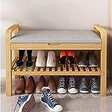 DWW 2 Niveles De Bambú Zapatero con Asiento Tapizado Y Ascensor De Almacenamiento Superior, For Trabajo Pesado Banco De Zapatos con Asas Y Silencioso Bisagra, Presten Apoyo A Grandes Zapatos Estante