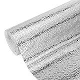 DIYARTS Adesivo per Cucina A Prova di Olio Foglio di Alluminio Carta da Parati Impermeabile per Casa Stufa Autoadesiva Carta da Parati con Spruzzi Adesivo Senza Colla (Orange Peel 0.4 * 5 m)
