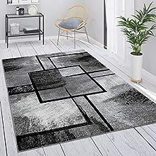 Alfombra Salón Gris Vintage Pelo Corto Motivo Geométrico Abstracto, tamaño:60x100 cm, Color:Gris 4