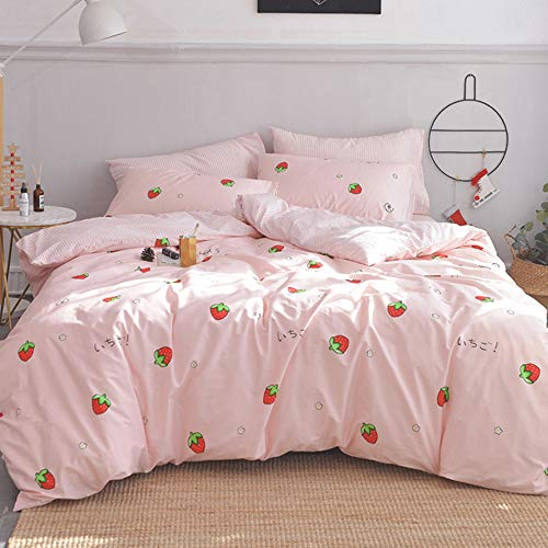 MICBRIDAL Kawaii Strawberry Duvet Cover Twin Soft 100% Cotton Strawberry Bedding Set with 2 Pillowcases Girls Women Adults Japanese Style Strawberry Comforter Set with Zipper (NO Comforter)