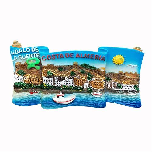 3D-Kühlschrankmagnet, Küste von Almeria Andalusien, Spanien, Reise-Souvenir, Geschenk, Heim, Küche, Kühlschrank, Dekoration, Magnet-Aufkleber