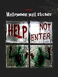 CUzzhtzy 2 PCS Vampiro Horror Zombi Etiqueta del Cartel La decoración for la casa encantada de Halloween Party Etiqueta de la Pared Gigante Ventana sangrienta Adecuado para Halloween, casa embrujada,