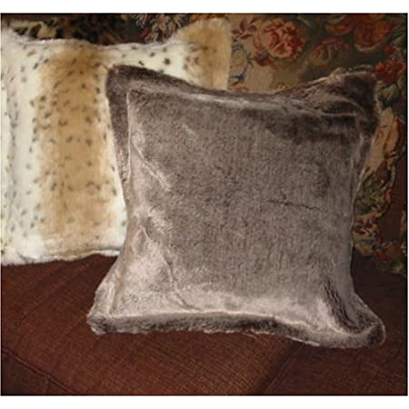 Amazon Com Chinchilla Faux Fur Pillow Cover With Chocolate Brown Faux Suede Back Home Kitchen