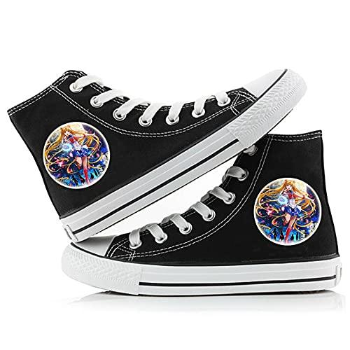NXMRN Sailor Moon Zapatos De Lona Negros Impresos para Hombre Todos Los Zapatos Vulcanizados Zapatos De Skate Casuales para Mujer Zapatillas De Deporte-39