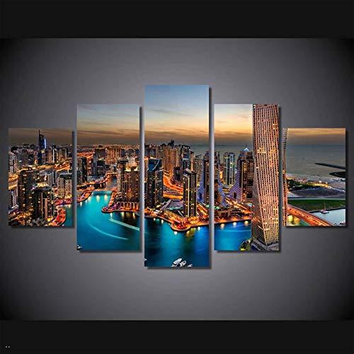 KELEQI HD Impreso City Skyscrapers Group Painting Impresión de Lienzo Decoración de la habitación Impresión de póster Cuadro Lienzo (60x80cm) X2 (60x120cm) X2 (60x150cm) Sin Marco