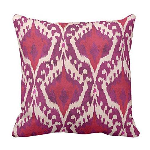 Throw Pillow Cover Cute Ethnic Chic Colorful Red and Purple Ikat Tribal White Batik Funda Almohada Cuadrada Funda Almohada 18 '