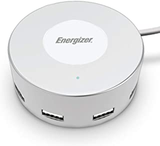 Premier Energizer Ultimate Fast Charging Station Compact Desktop Charger USB Hub 6 Ports, White Round 5 ft Power Cord 30W