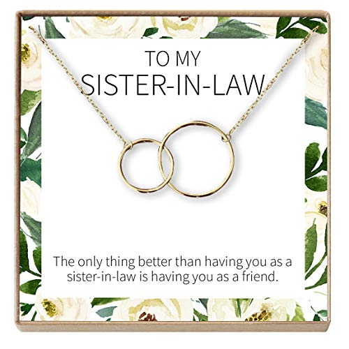 Dear Ava Sister of The Groom Gift Necklace: Sister in Law Gift, Wedding, Bridal Shower, 2 Interlocking Circles (Gold-Plated-Brass, NA)