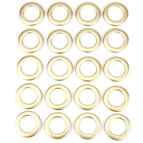 20pcs forma redonda anillo de plástico para cortina de ojal cortinas cortinas círculo diapositiva anillos Clips Grommets bajo nivel de ruido Dorado Mate