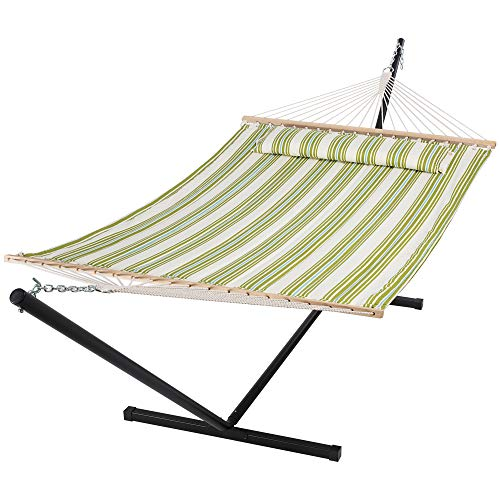 SUNCREAT Hammock with Stand 2 Person Heavy Duty, Freestanding Hammock with Spreader Bar, Soft Pillow, Green&Beige
