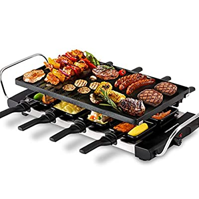 Smokeless Indoor Electric Grill, 1300W Fast Heating BBQ Raclette Grill with Nonstick Grill Plate Temperature Control for Party Grilling Delicious Meats, Seafood, Steak, Pancake, Cheese