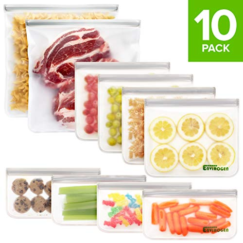 Envirogen 10 Pack FDA Grade Reusable Storage Bags (2 Reusable Gallon Bags, 4 Reusable Sandwich Bags, 4 Reusable Snack Bags), Extra Thick, Leakproof, Freezer Safe Silicone & Plastic Free Lunch Bags