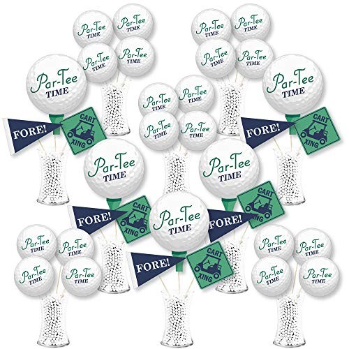 Big Dot of Happiness Par-Tee Time - Golf - Birthday or Retirement Party Centerpiece Sticks - Showstopper Table Toppers - 35 Pieces