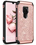 BENTOBEN Huawei Mate 20 Hülle, Huawei Mate 20 Glitzer Hülle, Handyhülle Huawei Mate 20 Schutzhülle stoßfest 2 in 1 Hybrid TPU Cover PC Schale mit Kunstleder Case Hülle für Huawei Mate 20 Rosegold