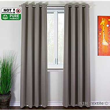 NIM Textile Grommet Curtains Thermal Insulated Blackout Drapes, 140  W x 84  L, 2-Panels Set, Taupe, Sofiter Collection