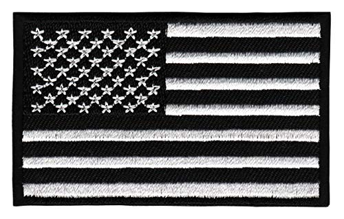 Patch USA Flagge Schwarz Weiß Vereinigte Statten von Amerika Aufnäher Bügelbild Größe 8,0 x 4,8 cm