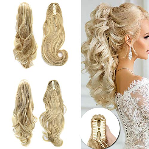 """LYRICAL HAIR Synthetic Claw Ponytail Hairpieces For White Women 22"""" Long Curly Messy Wavy Jaw Clip In Pony Tail Hair Extension (R24B Pale Golden Blonde)"""