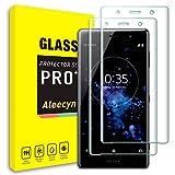 ALEECYN Bildschirmschutzfolien kompatibel mit Sony Xperia XZ2 Premium gehärtetes Glas, 3D Gebogene Schutzfolie & 9H Festigkeit, Kristallklarheit, Kratzfest für Xperia XZ2 Premium (2 Stück)