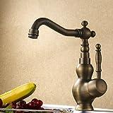 Hiendure® Grifería para fregadero alto Grifo Mezclador para cocina con con ducha extraible - Latón viejo