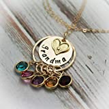 Grandma Necklace Birthstone Necklace Grandmother Necklace Grandchildren Hand Stamped and Personalized - 14 K Gold Filled