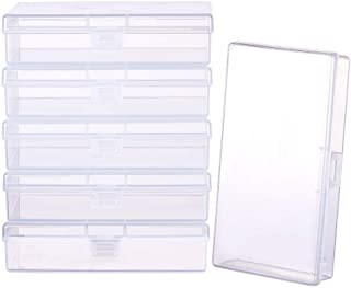 BENECREAT 6 Pack Clear Plastic Box Clear Storage Case Collection Organizer Container with Hinged Lid for Organizing Small ...