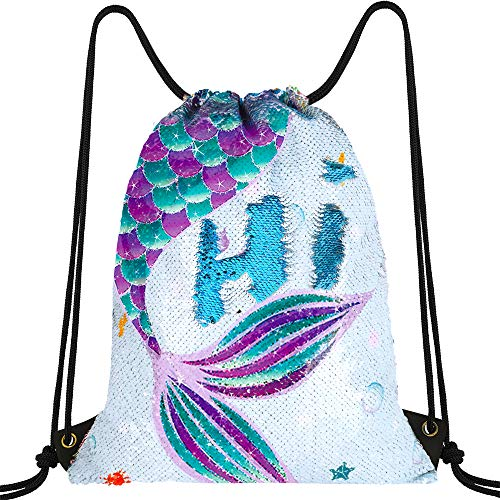 "WERNNSAI Blue Mermaid Drawstring Backpack - 14"" × 18"" Reversible Sequins Backpack for Girls Birthday Xmas Gift Waterproof Dance Bags School Travel Gym Yoga Outdoor Sack Bags"