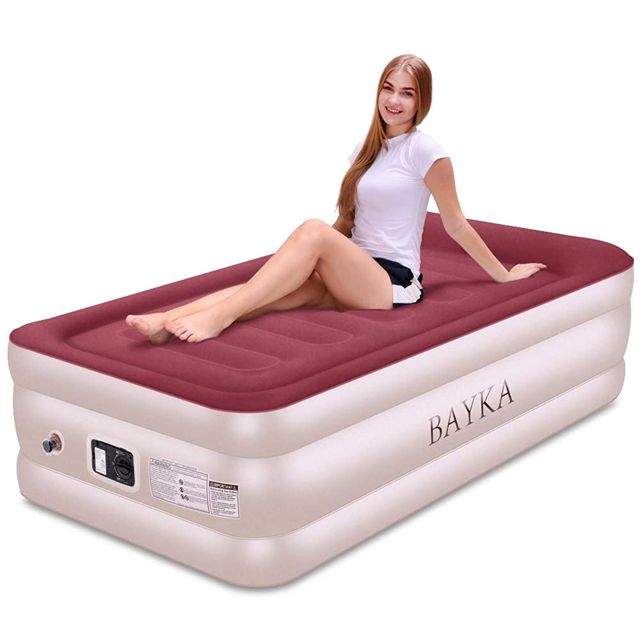 BAYKA Twin Air Mattress with with Built-in Pump & Pillow, Raised Elevated Double High Airbed for Guest, Pink, Blow Up Inflatable Upgraded Camping Bed, 18