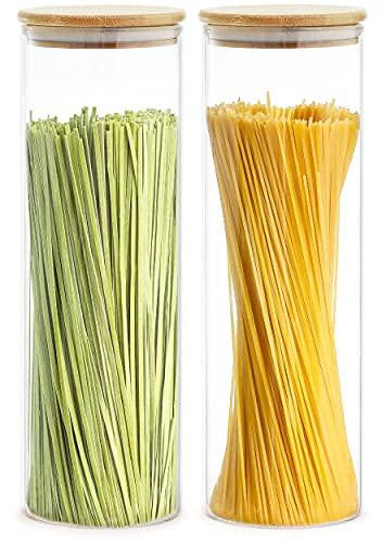 2 Botes para Espaguetis de Cristal con Tapa - Grandes 2 l - 30 cm de Alto - Hermeticos - Aptos para Lavavajillas
