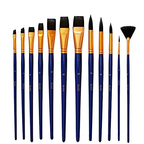 12 Stück Künstlerpinsel Rundpinsel Fächerpinsel Flach Pinsel Schrägzieher Acrylpinsel Aquarellpinsel Pinselset für Set Aquarell Acrylfarben