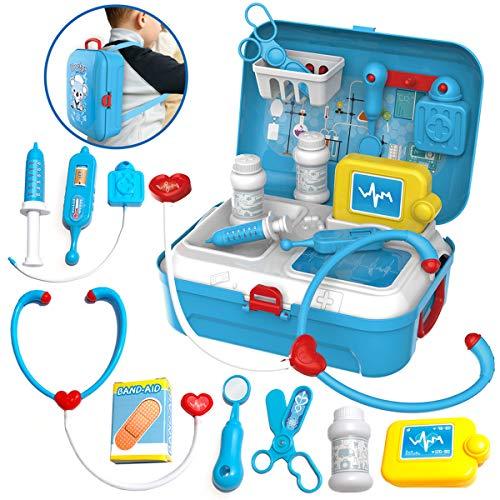Kids Doctor Set - Fantasiespel Medical Kit Rollenspel Educatief speelgoed voor peuters Meisjes Jongens met opbergdoos voor rugzak.