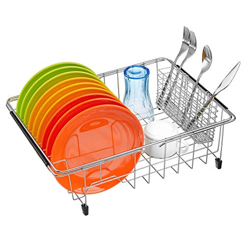 ARCCI Dish Drying Rack with Utensil Holder, Expandable 304 Stainless Steel Over Sink Dish Drainer, Dish Rack in Sink/on Countertop - Kitchen Organizer Basket