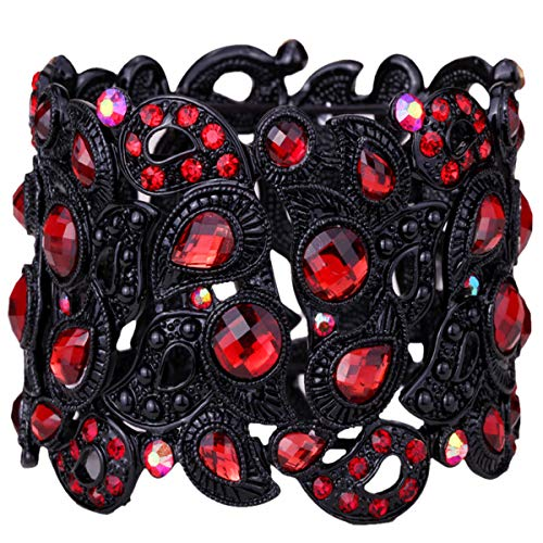 YACQ Women's Flower Stretch Cuff Bracelet fit Wrist Size 6-1/2 To 7-1/2 Inch - Comfortable Elastic Band & Floral Pattern Crystal Jewelry - Lead & Nickle Free - Halloween Costume Outfit (Red)