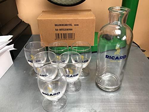 6Stück Glas Ballon Ricard 17cl + 1Karaffe NEU