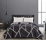 DecoKing 40966 Tagesdecke 200x220 cm Graphit weiß Bettüberwurf zweiseitig Steppung leicht zu pflegen geometrisches Muster grau Stahl anthrazit Home