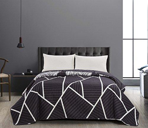 DecoKing 40942 Tagesdecke 170x210 cm Graphit weiß Bettüberwurf zweiseitig Steppung pflegeleicht geometrisches Muster grau Stahl anthrazit Home