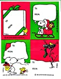 Peanuts Christmas Vintage Hallmark Snoopy Gift Tag Seals Holiday Stickers - 2 Sheets
