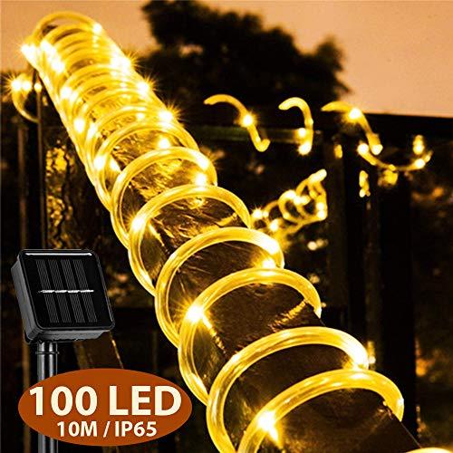Mr.Twinklelight - Guirnalda de luces LED solares (10 m, resistente al agua, para exteriores, con 100 ledes, para sauna, jardín, Navidad, bodas, fiestas, luz blanca cálida)