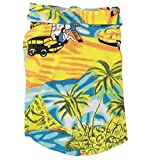 XMSJSIY Dog Hawaiian Shirt Cloth,Pet Dog Summer Polo T-Shirt Puppy Cat Luau Outfits Costume for Small Medium Dog Boy Girl Beach Seaside Apparel Clothes (XL:Chest Girth 50cm, Coco Tree-Yellow)