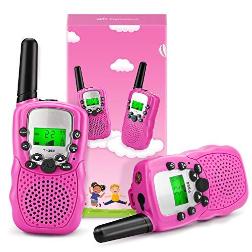 Fansteck 2er Walkie Talkies für Kinder, Funkgeräte Set Spielzeug für 3,4,5,6,7,8 Jahre, 8 Kanäle 3KM Reichweite mit Seile und Taschenlampe, geeignet für Zelten, Indoor