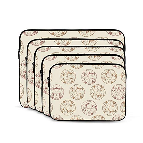 KUUDJIT Chocolate Chip Cookie (2) 12/13/15/17 Inch Laptop Sleeve Bag for MacBook Air 13 15 MacBook Pro Portable Zipper Laptop Bag Tablet Bag,Diving Fabric,Waterproof