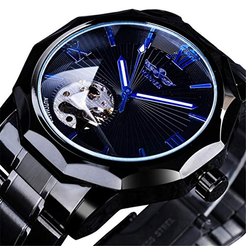 Winner Herren Uhr Automatik Männer Mechanische Automatikuhr Skelett Militär Edelstahl Armbanduhren Mann,Black
