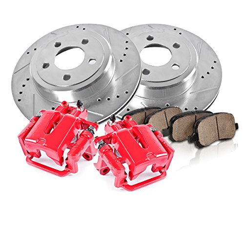 Callahan CCK12600 REAR Powder Coated Red [2] Calipers + [2] 5 Lug Rotors + Quiet Low Dust [4] Ceramic Pads Performance Kit