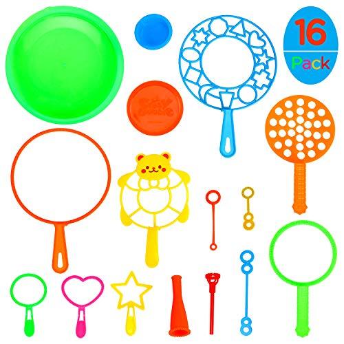 Ucradle Seifenblasen Set für Kinder, 16 Stück Seifenblasenstäbe Outdoor Spielzeug, Seifenblasen Blase Zauberstab Kinder Seifenblasen Set Multibubbler für Kindergeburtstag Party Sommer Outdoor