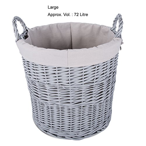 Home Storage Grey Painted Round Wicker Basket Laundry Toys Baby Nursery Collection Box (Large)