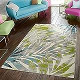 TT Home Alfombra moderna para salón, diseño de palmeras, color gris, verde y azul, tamaño: 120 x 170 cm