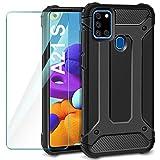 AROYI Samsung Galaxy A21s Hülle + Panzerglas, Samsung Galaxy A21s Hülle Outdoor Handyhülle Tough Silikon TPU + PC Bumper Doppelschichter Schutz Schutzhülle für Samsung Galaxy A21s Schwarz