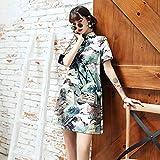XKMY Robe chinoise traditionnelle chinoise Hanfu Qi Pao pour femme rétro Cheongsam Fille japonaise Harajuku Style vintage Carpe Grue Imprimée Qipao (Couleur : 7, Taille : L)