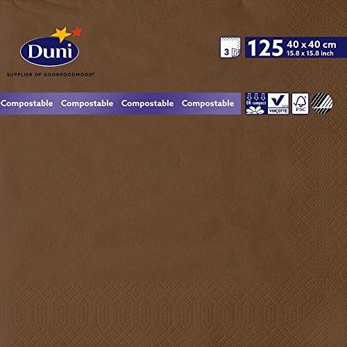 Duni 174086 3 plis Serviettes en papier, 40 cm x 40 cm, marrons (lot de 1000)