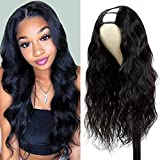Body Wave U Part Wig Synthetic Hair Wigs for Black Women with Middle Part Curly Wave Wig Natural Color Glueless Full Head U-part Hair Extension Clip in Half Wig U Shape Wig Natural Color (Black)